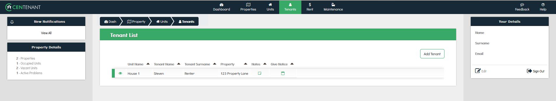 Centenant online property management Platform - Manage Tenants